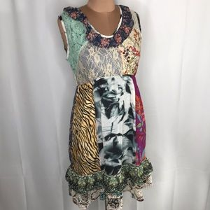 Prairie Patchwork Mixed Media Print Dress Small